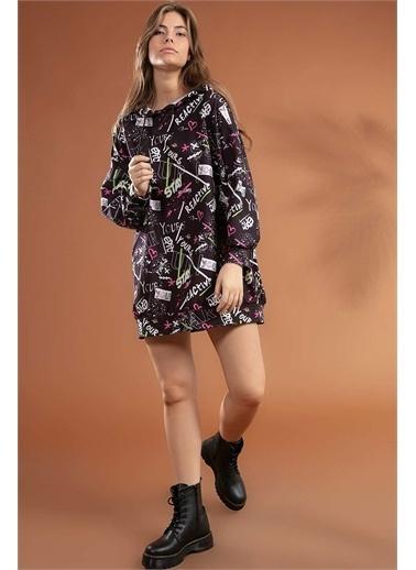 Pattaya Pattaya Kadın Grafik Desenli Kapşonlu Oversize Elbise Sweatshirt Y20W110-4125-7 Renkli